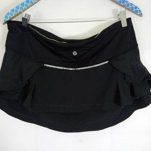 Lululemon Black Presta Ruffled Cycling Skirt sz 10